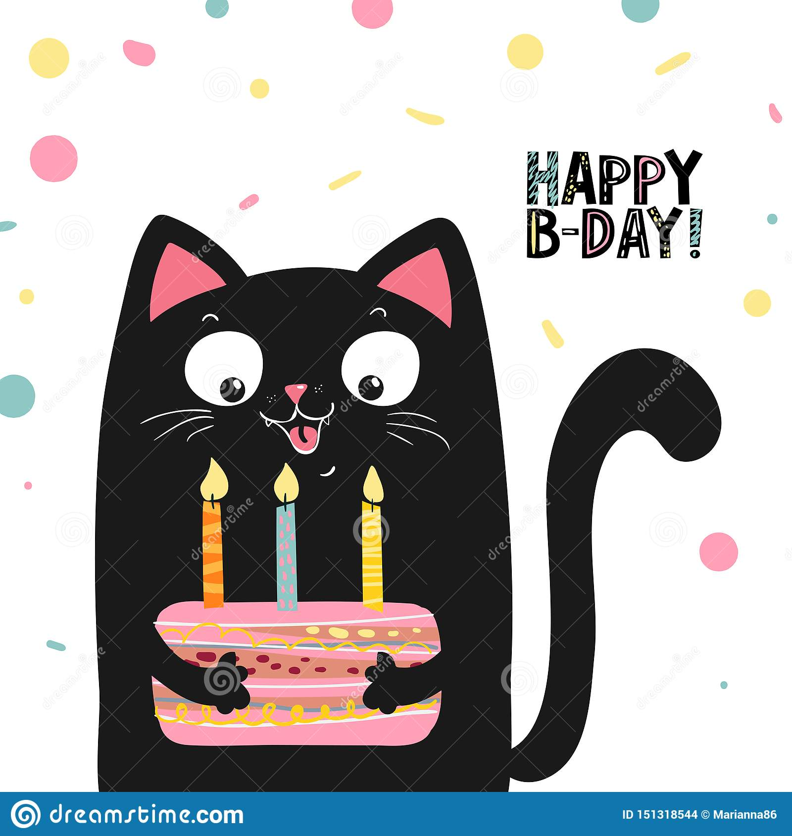 Happy Black Cat With Cake And Lettering Happy Birthday Vector Illustration Eps 10 Stock Vector Illustration Of Baby Cartoon 151318544