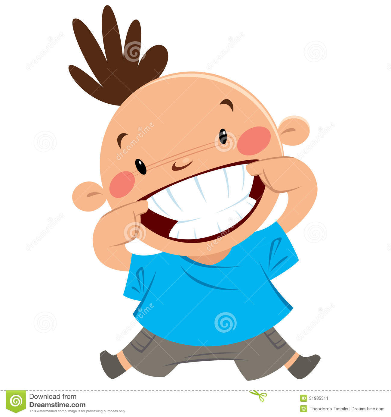 Happy Boy Smiling Pointing His Smile And Teeth Stock Image
