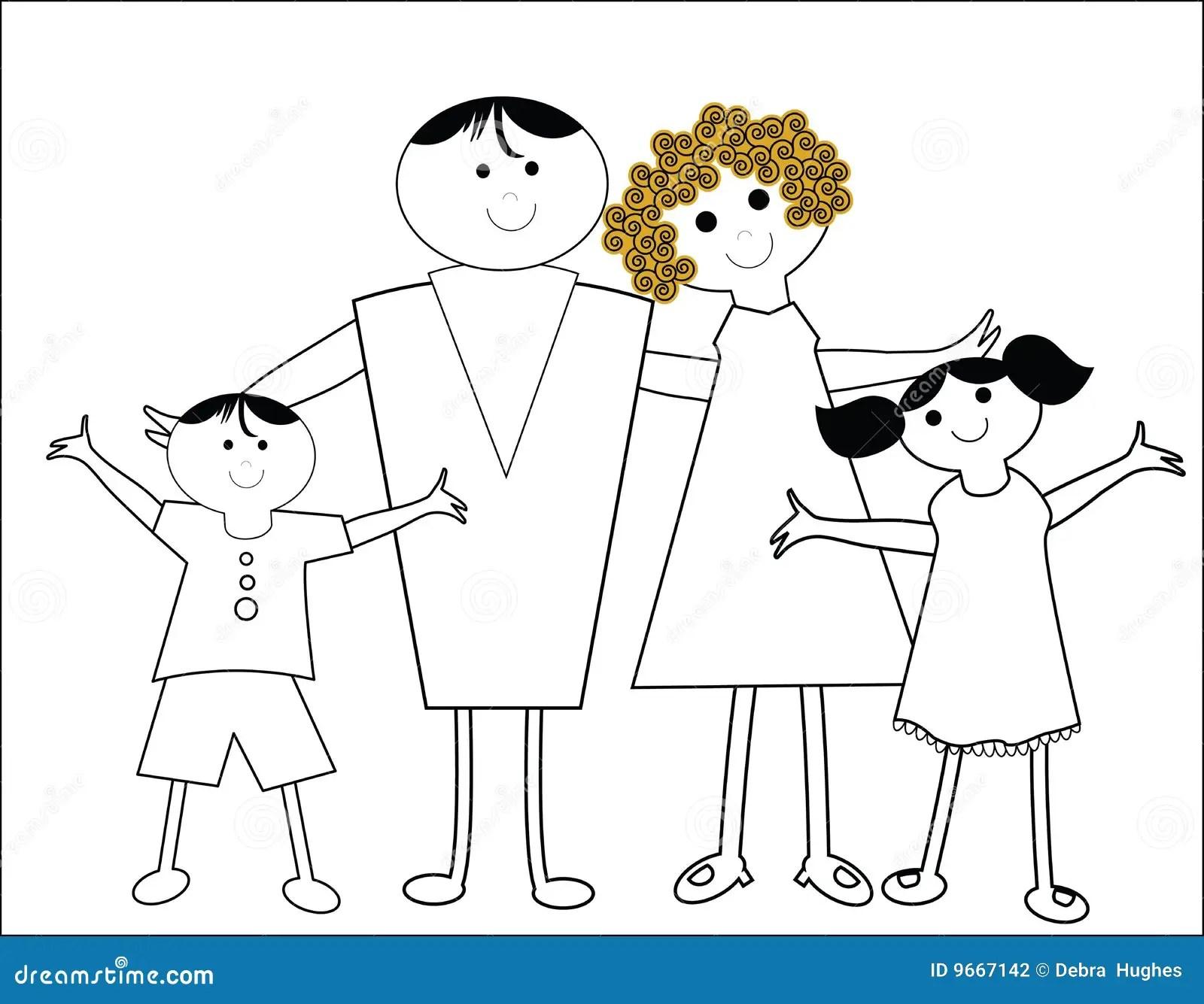 Happy Cartoon Family Stock Photography