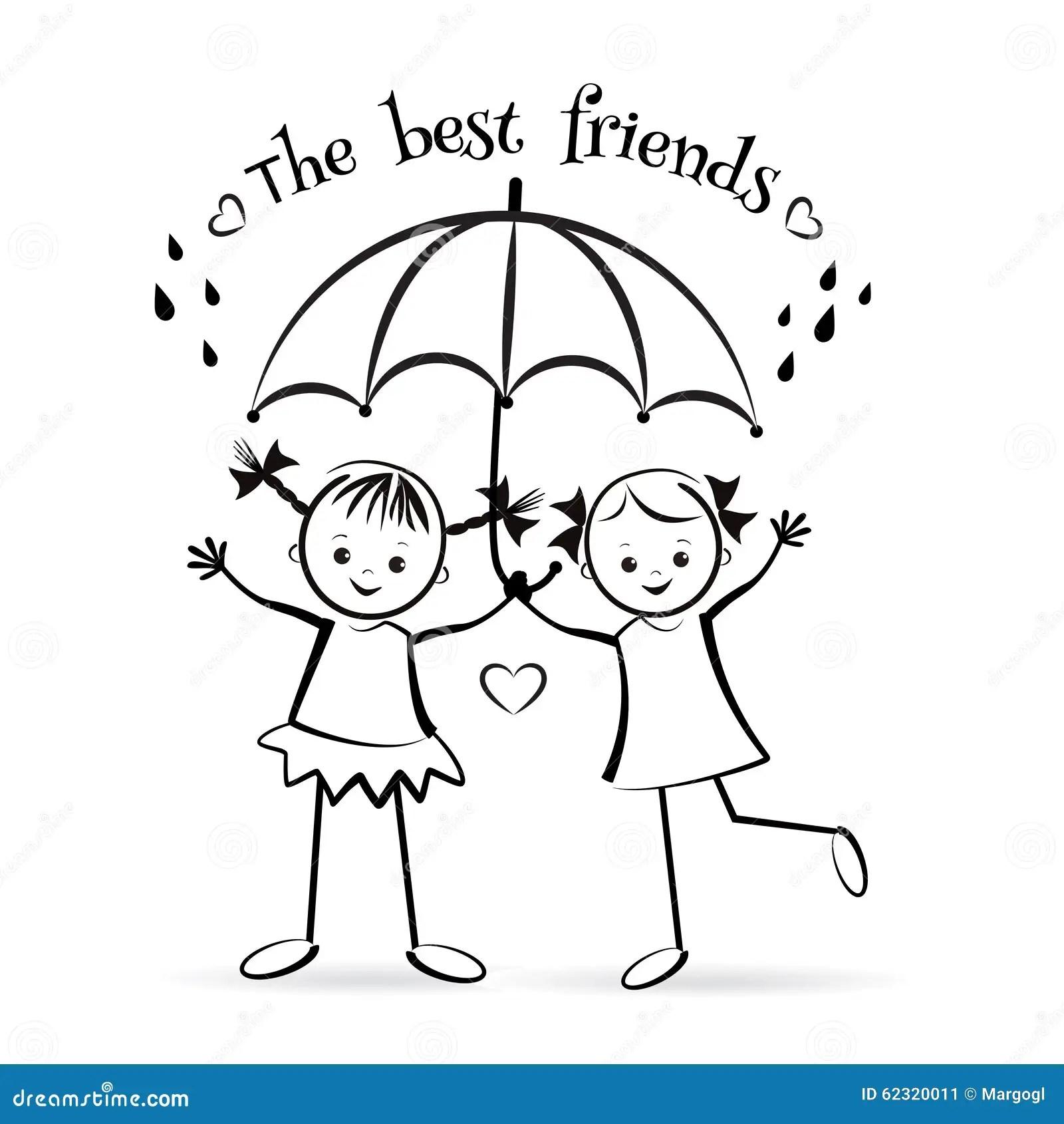 Happy Children The Best Friends Stock Vector
