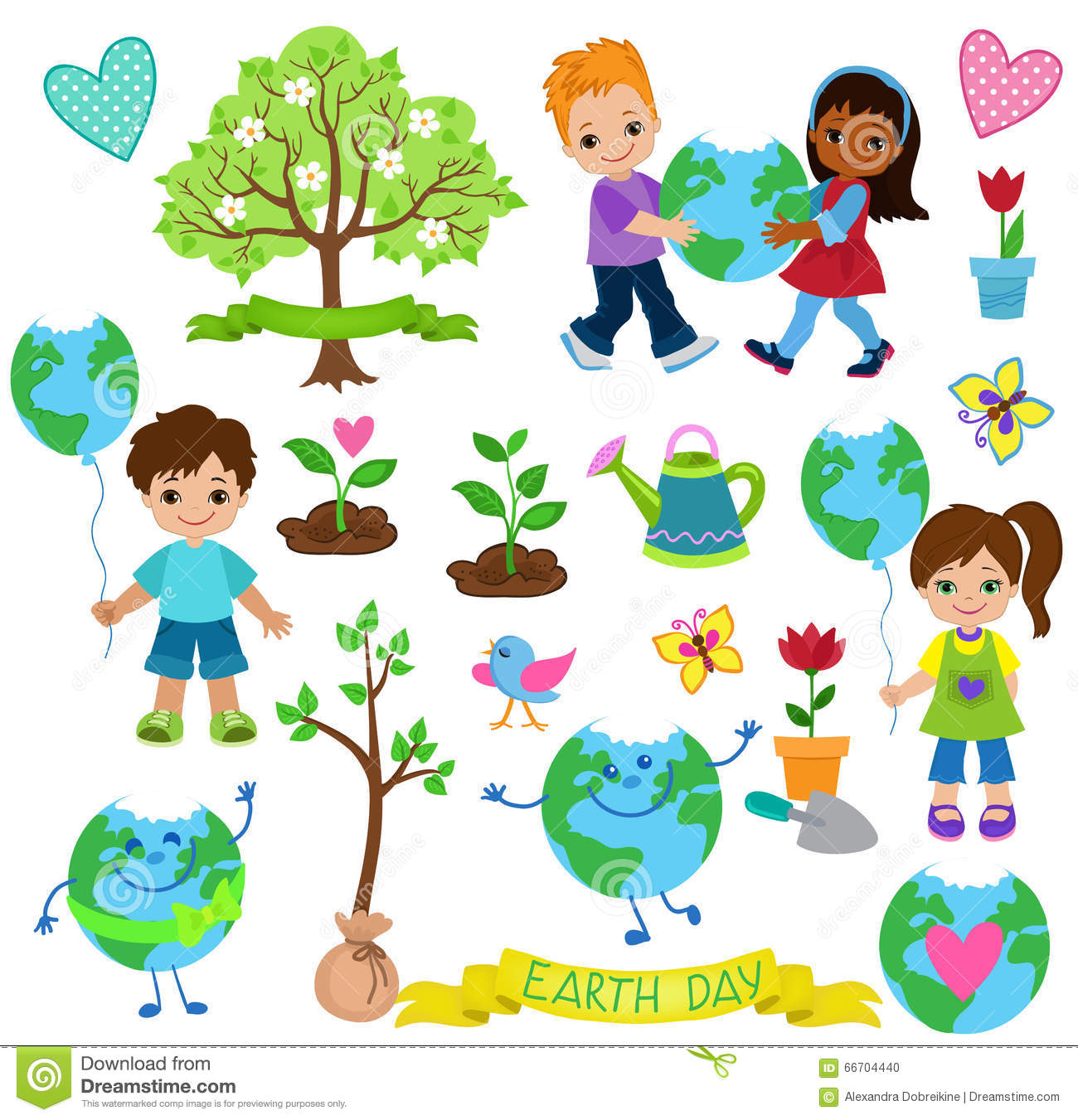 Happy Children Celebrate Earth Day Ology Elements Stock