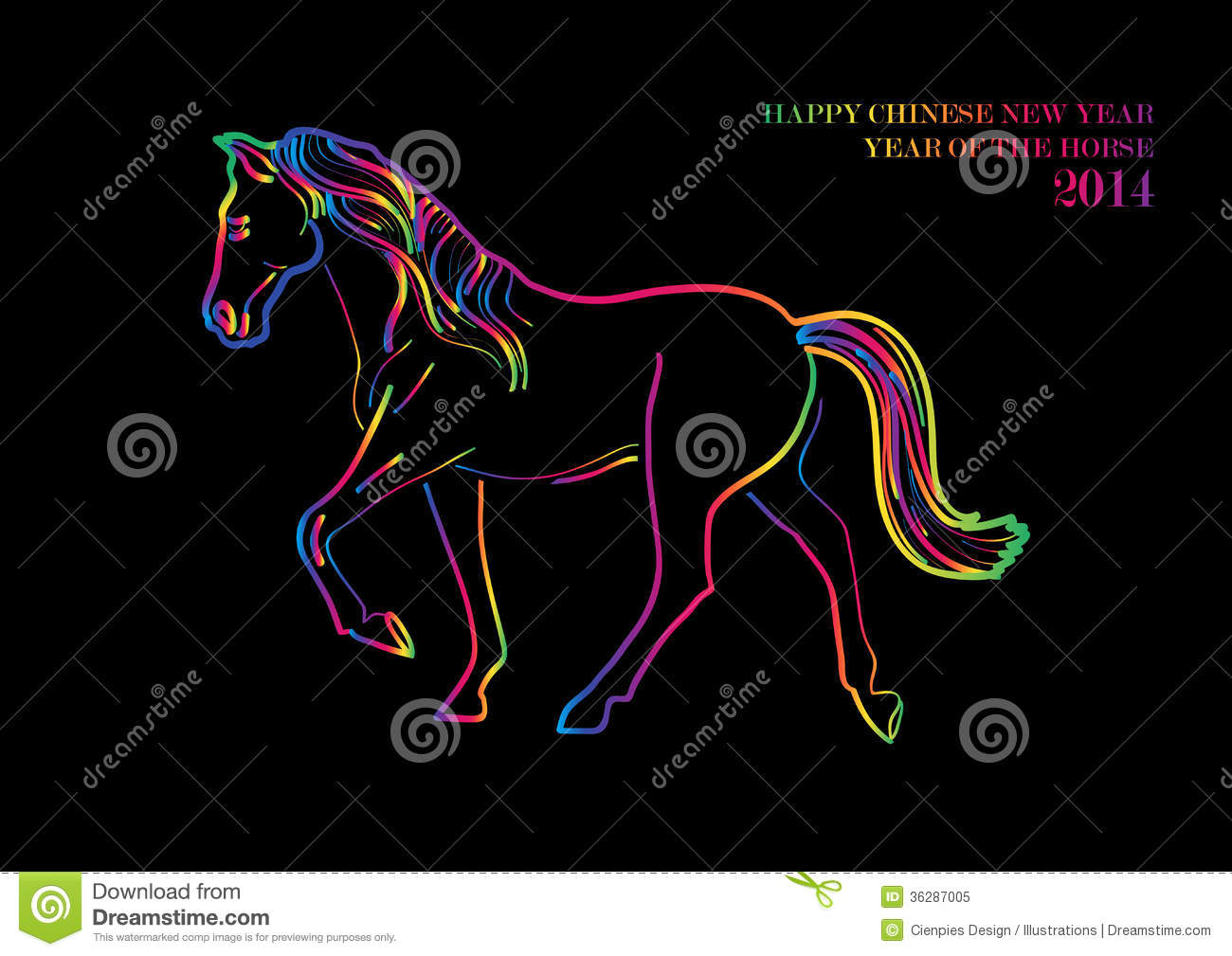 Happy Chinese New Year Of Horse Postcard Stock Vector