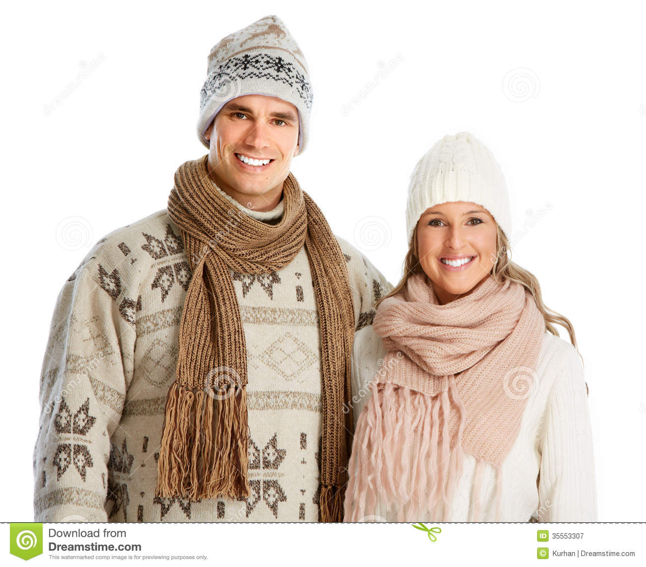 Happy Christmas Couple In Winter Clothing Royalty Free