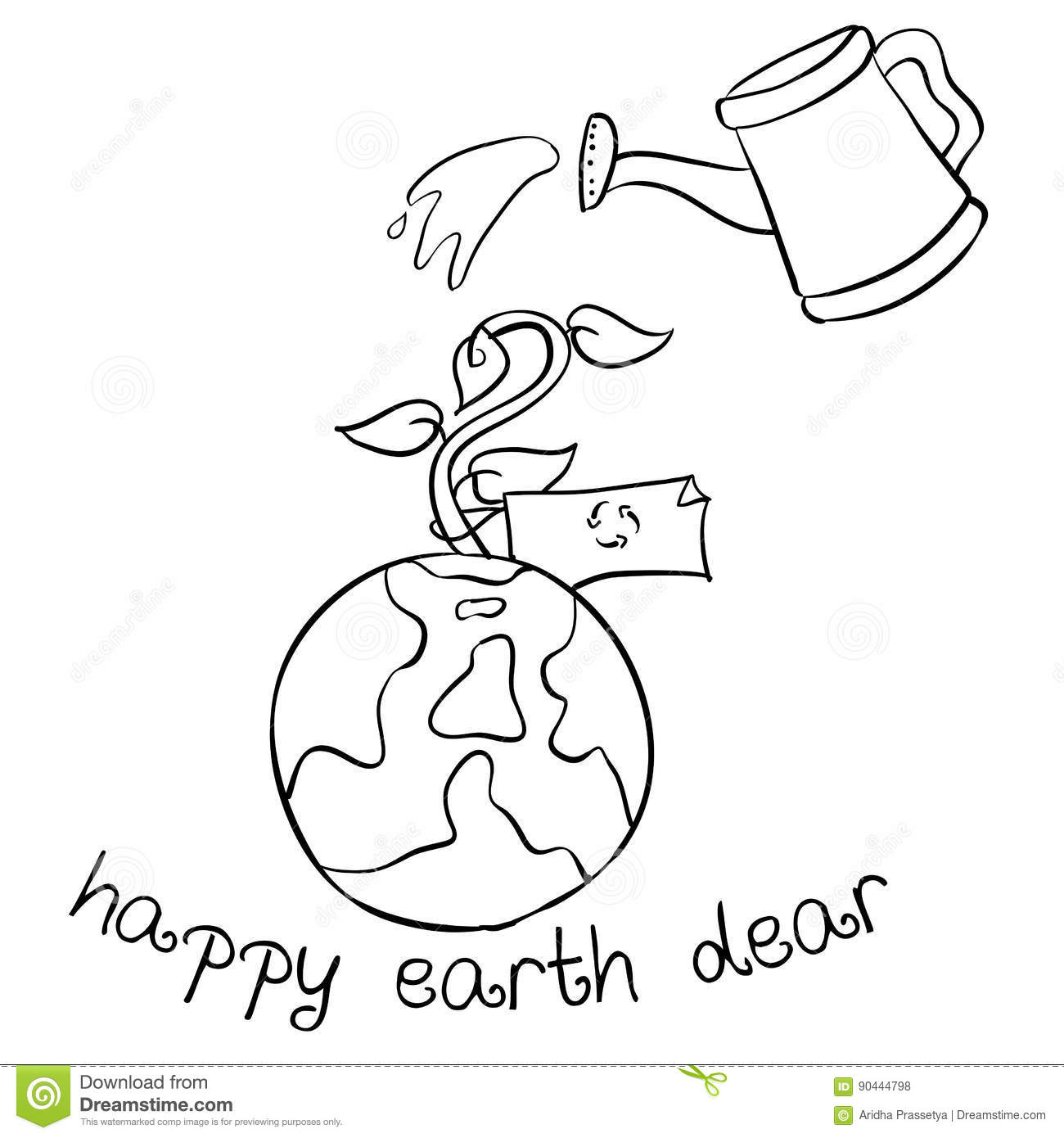 Happy Earth Day Hand Draw World Stock Vector