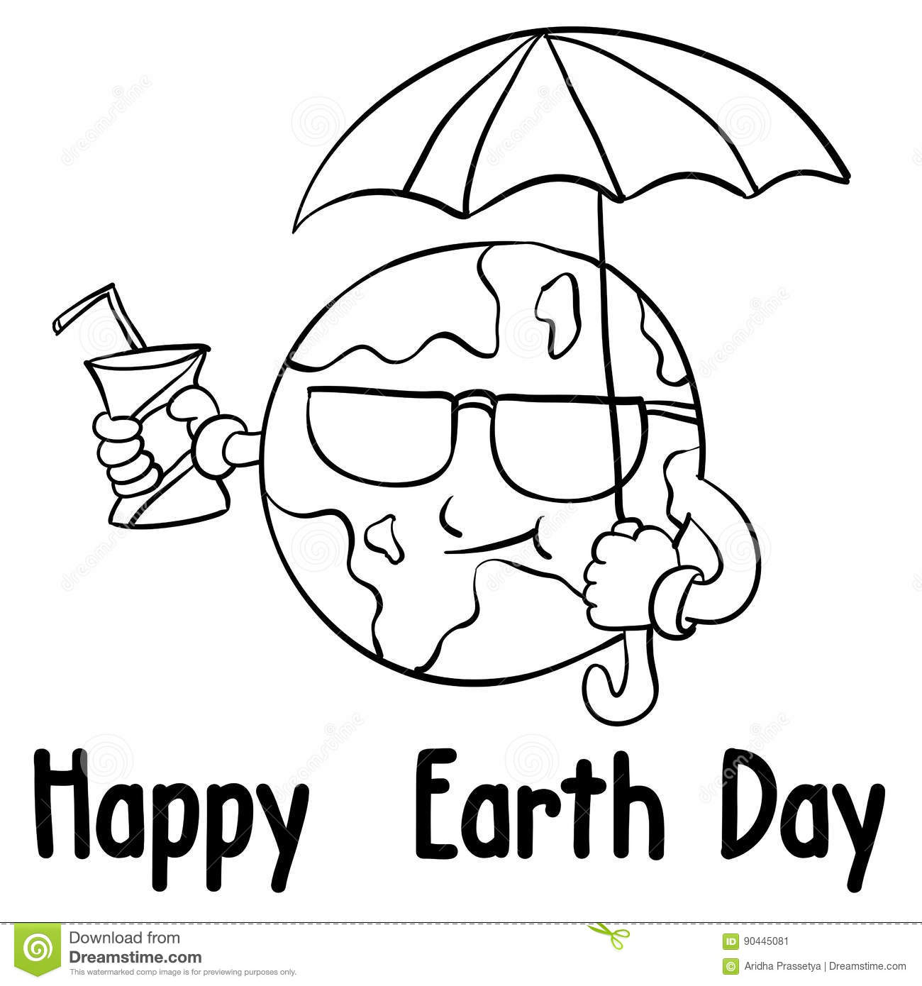 Happy Earth Day Style With Umbrella Stock Vector