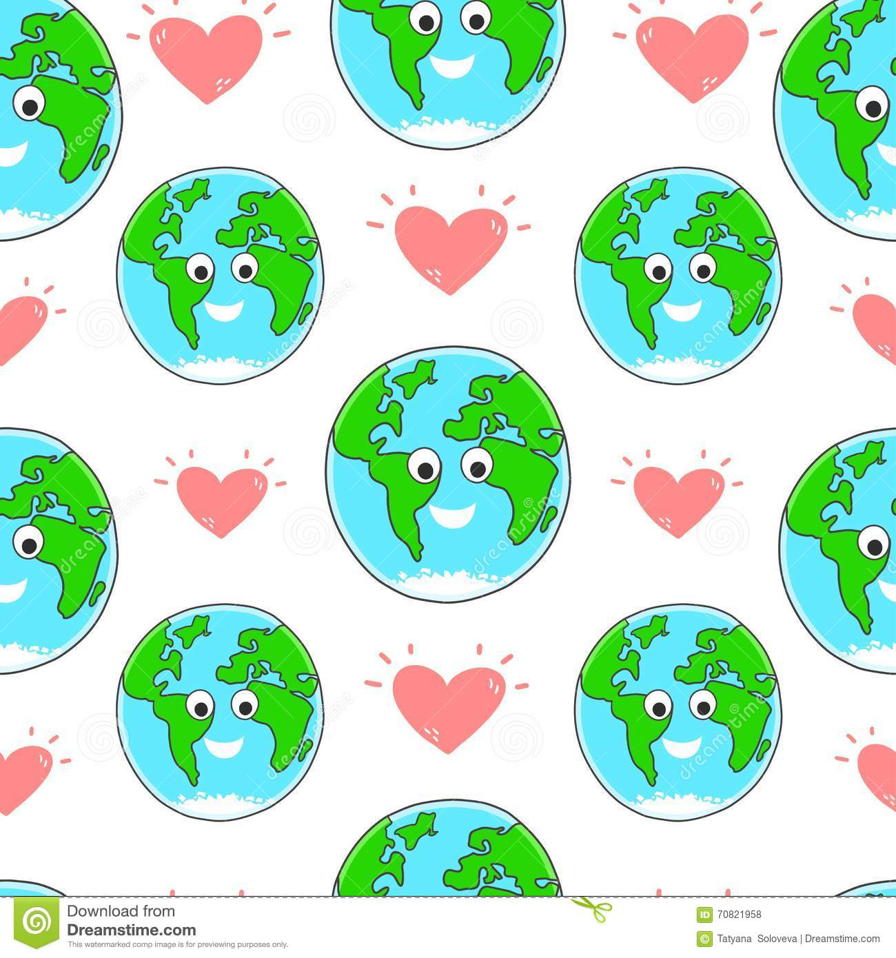 Happy Earth Day Vector Seamless Pattern Stock Vector