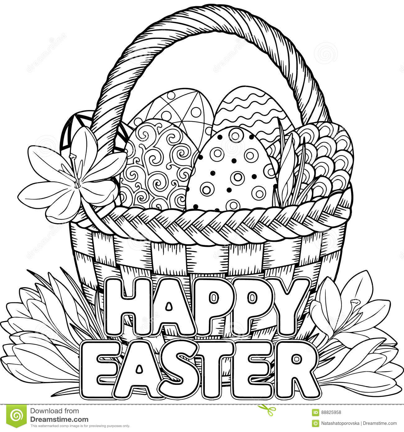 Happy Easter Black And White Doodle Easter Eggs In The