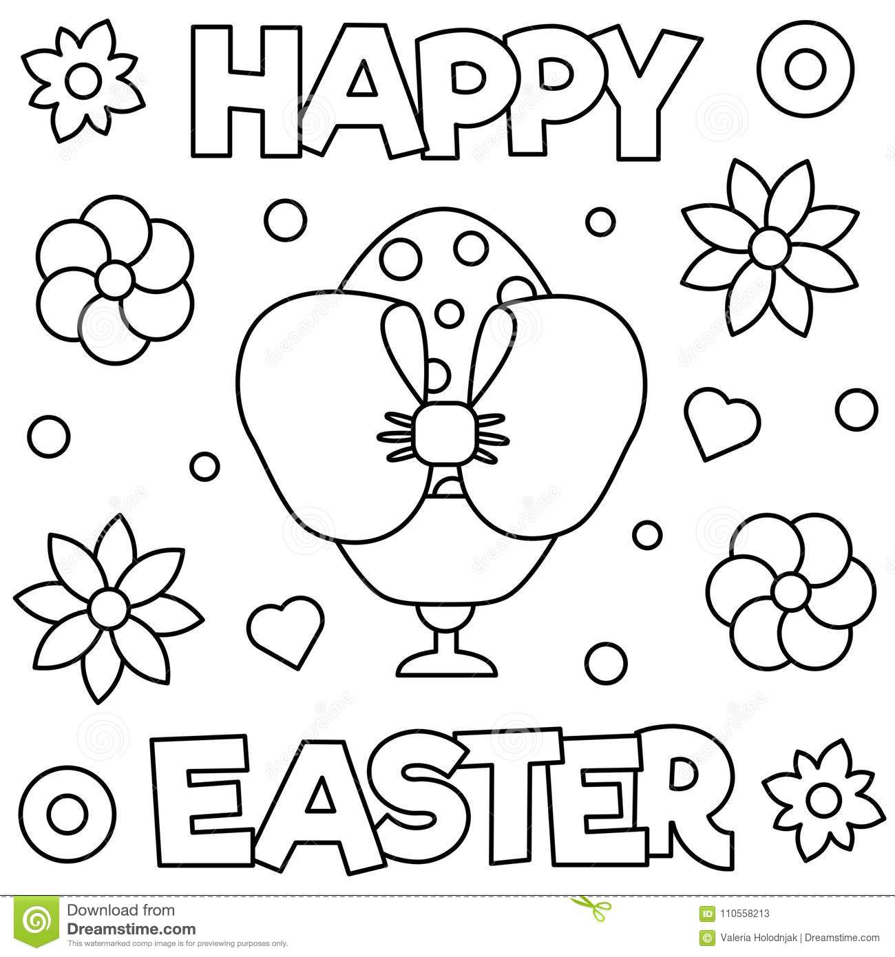 Happy Easter Coloring Page Vector Illustration Stock