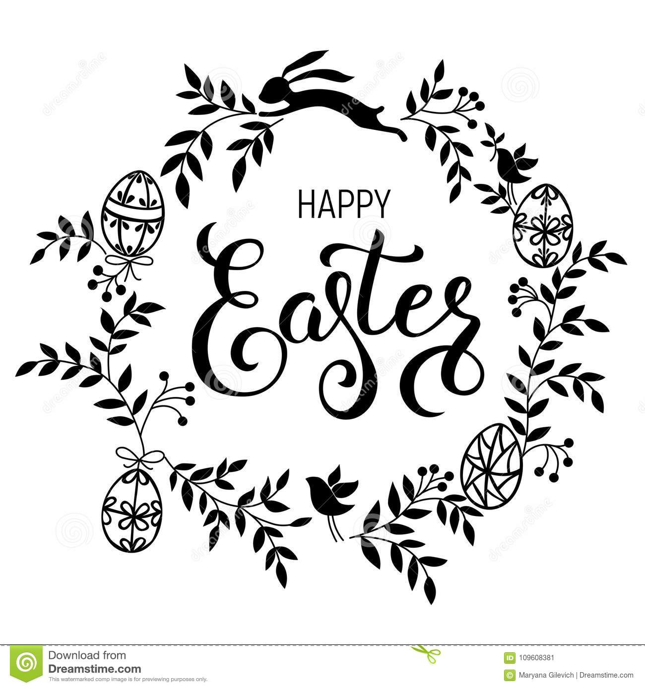 Happy Easter Handwritten Calligraphic Vector Illustration