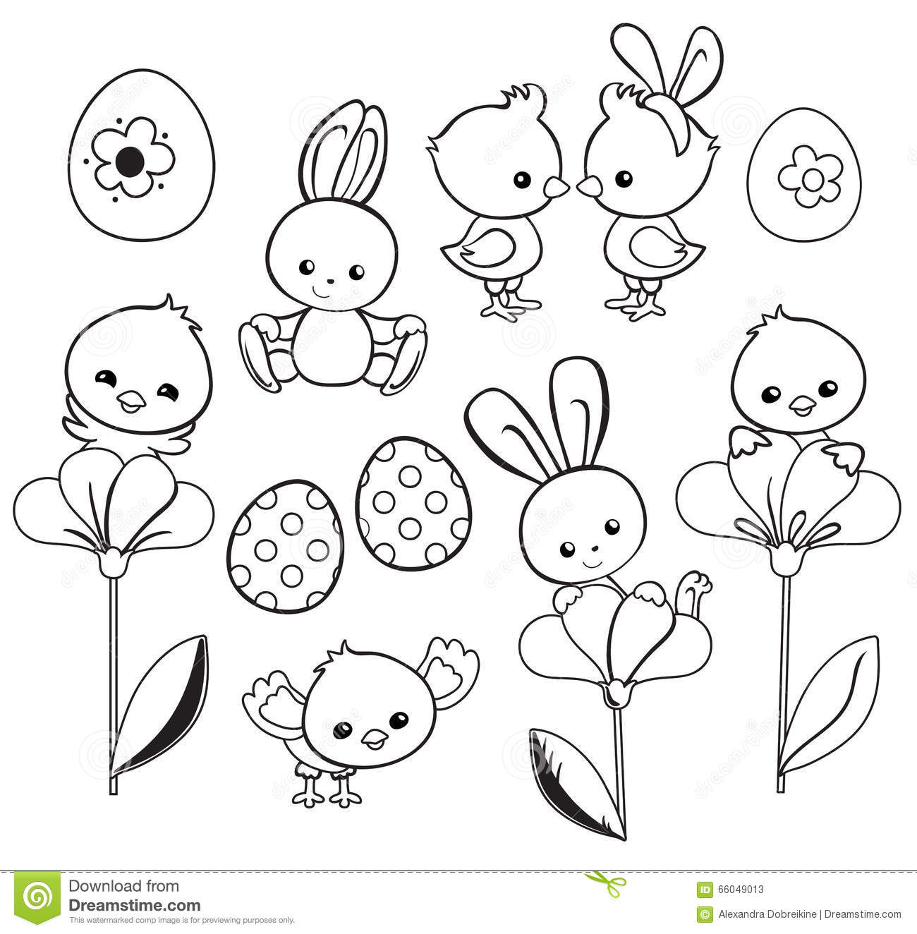 Happy Easter Chick Coloring Page Vector Illustration