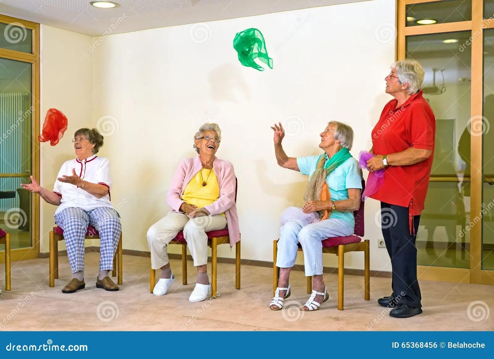Happy Elderly La S In A Gym Stock Photo