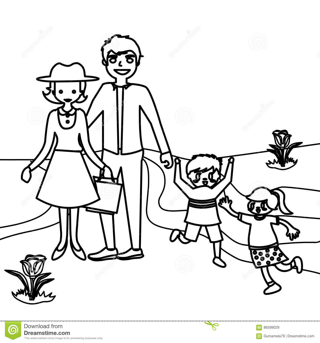 Happy Family Coloring Page Stock Illustration