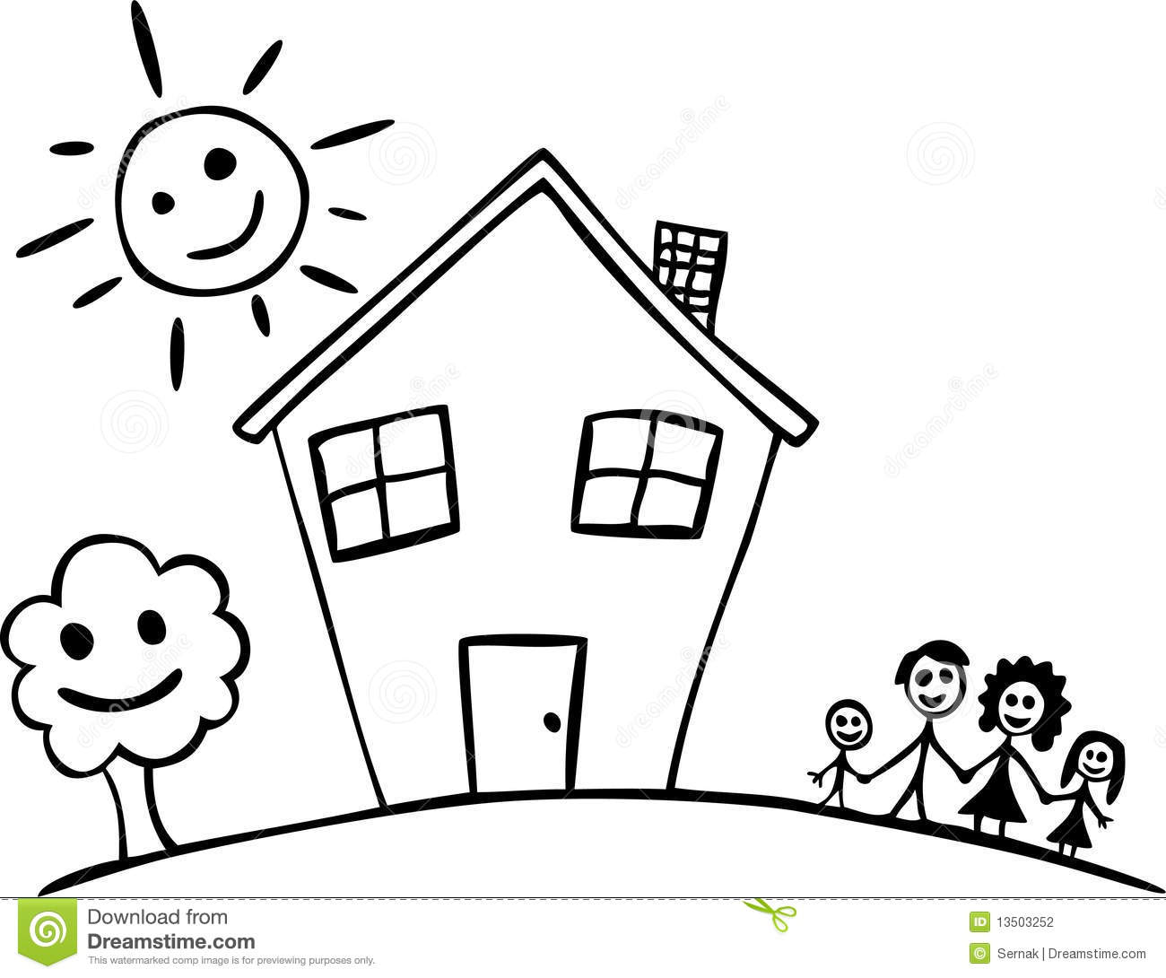 Happy Family And House Stock Vector Illustration Of