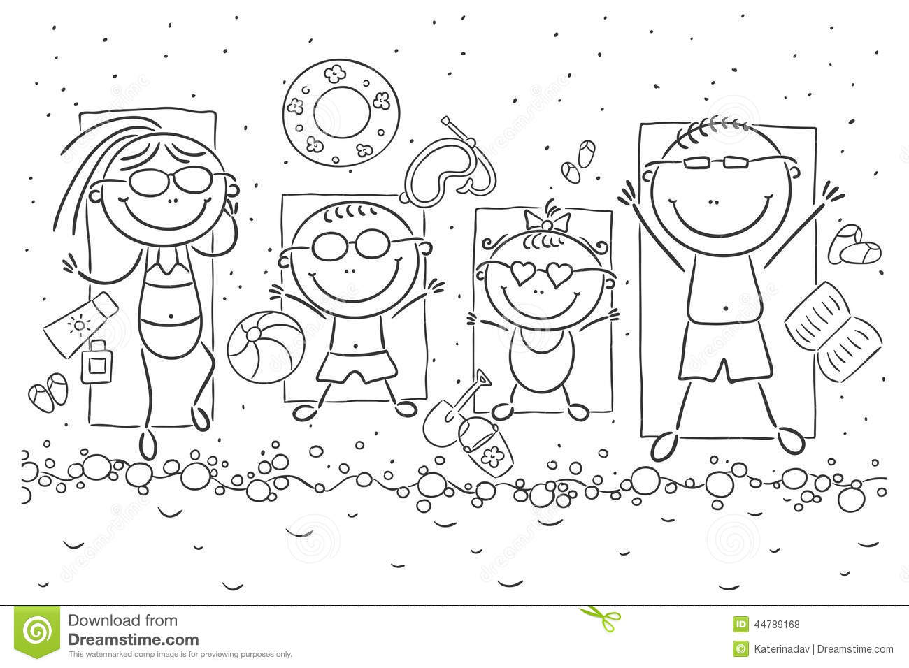 Happy Family At The Seaside Stock Vector