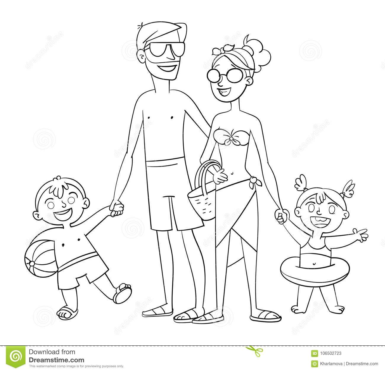 Happy Family On Vacation Coloring Book Stock Vector