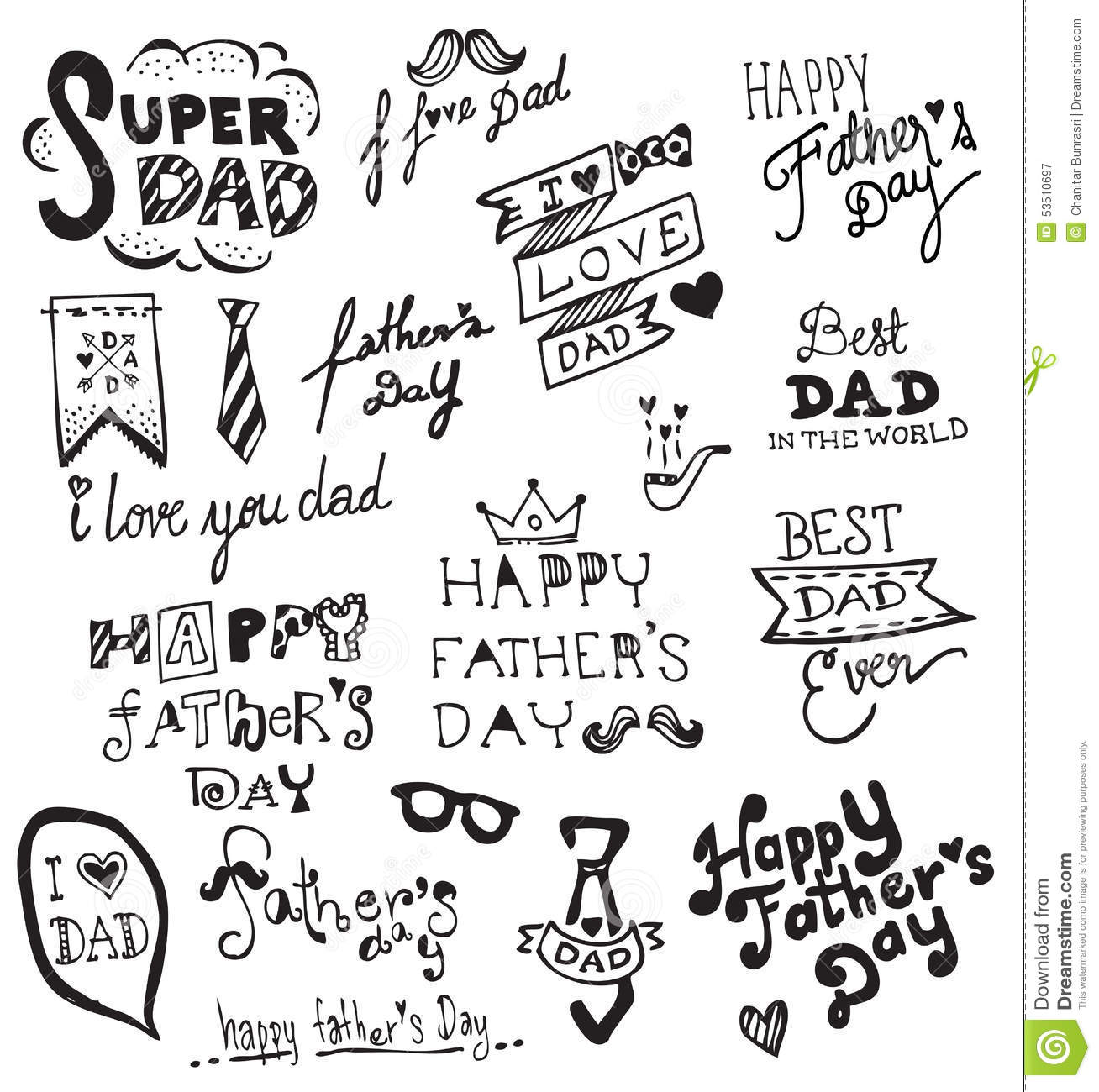 Happy Father S Day Hand Drawn Typography Stock Vector