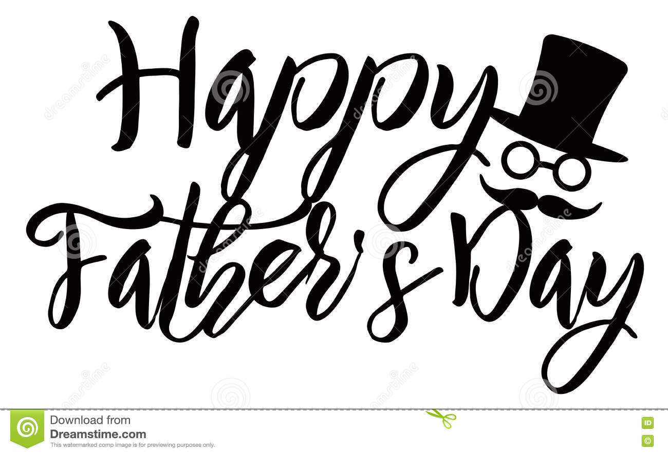 Happy Fathers Day Calligraphy Text Illustration Stock