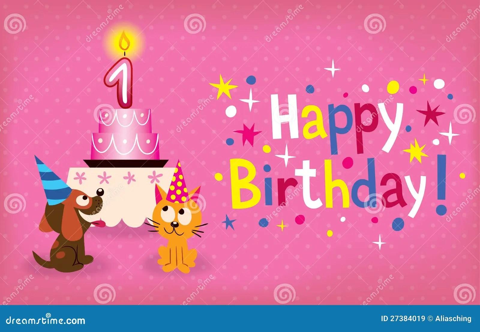 Happy First Birthday Stock Vector Illustration Of Cartoon 27384019