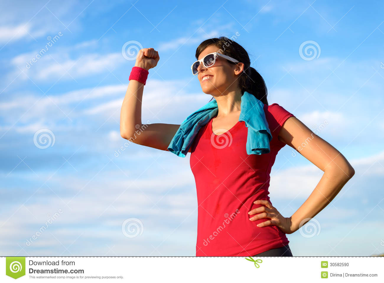 Happy Fitness Woman Success In Sport Stock Photo