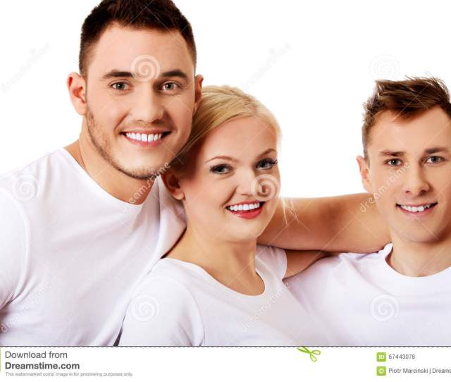 Happy Friends Together One Woman And Two Men Happy Friends Together One Women