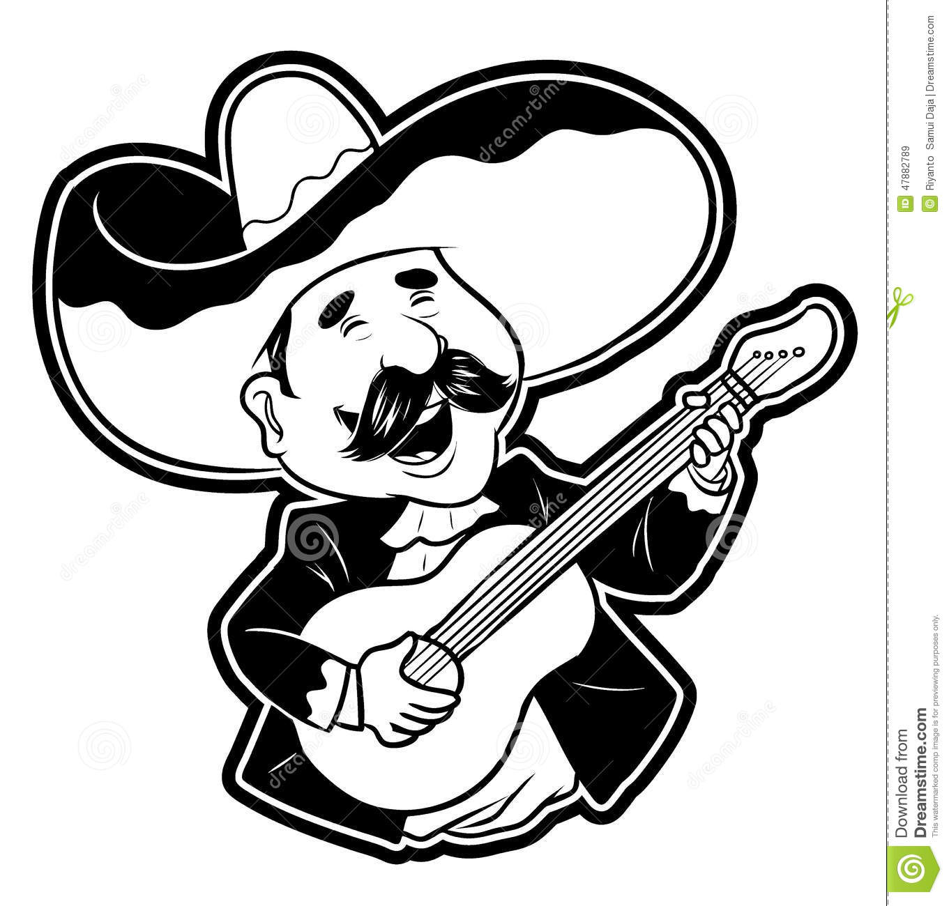 Happy Guitar Player Stock Vector Illustration Of Mustache