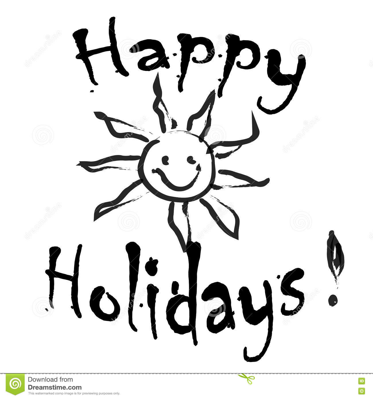 Happy Holidays Greeting Card Black And White Stock