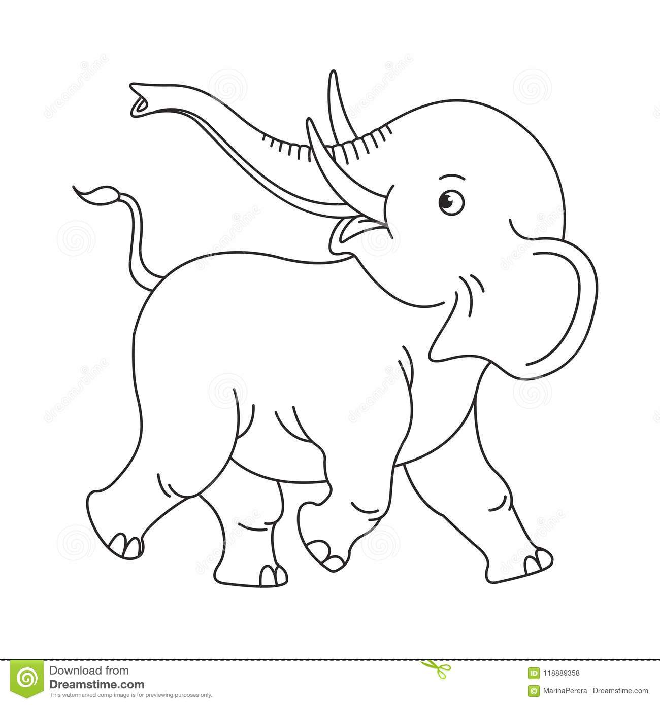 Happy Isolated Baby Elephant In Black Outline Stock Vector