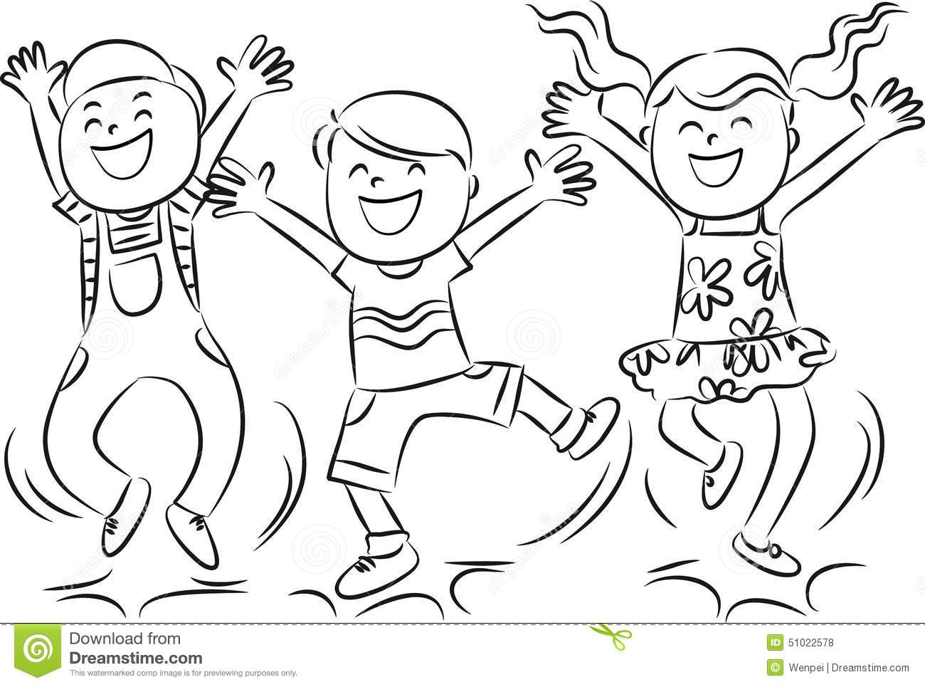 Happy Jumping Kids Stock Illustration Illustration Of