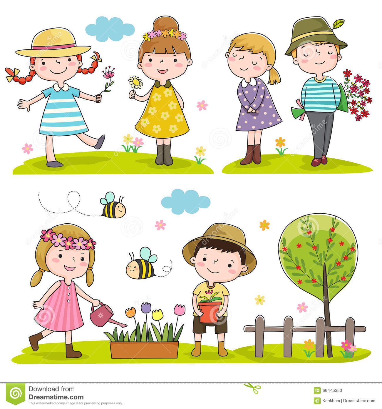 Happy Kids Outdoor In Spring Season Stock Vector