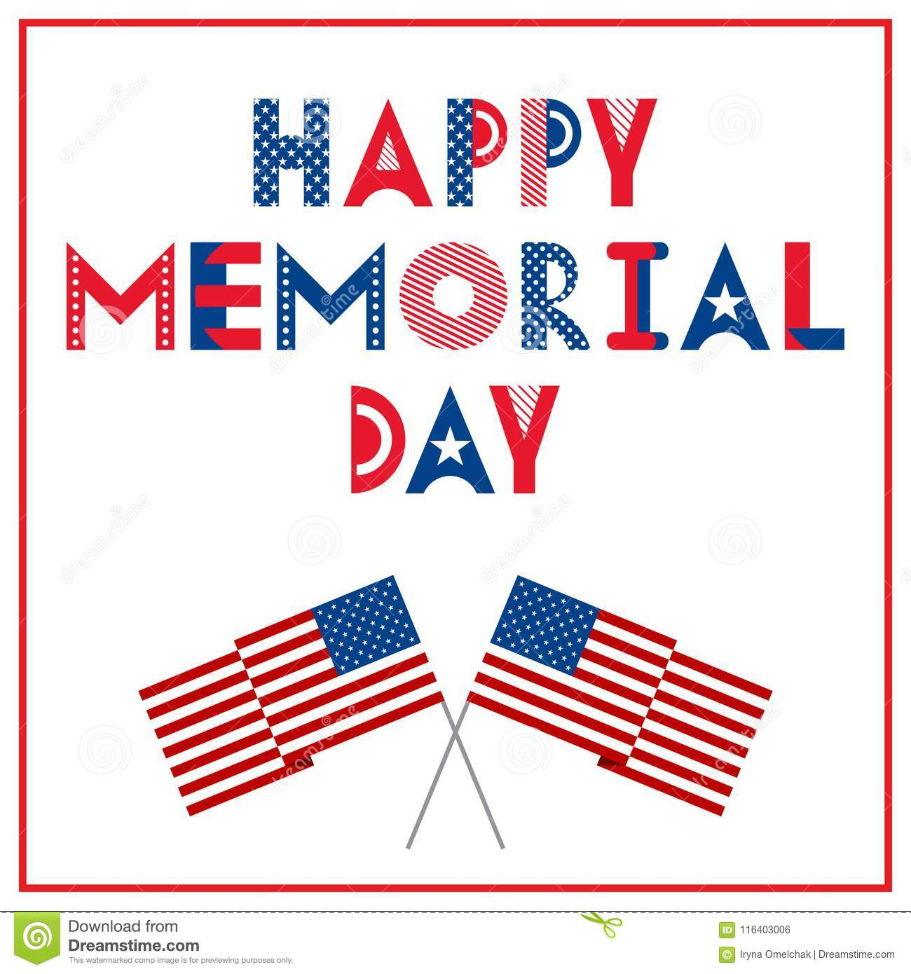 Happy Memorial Day Greeting Card With Flags Isolated On A