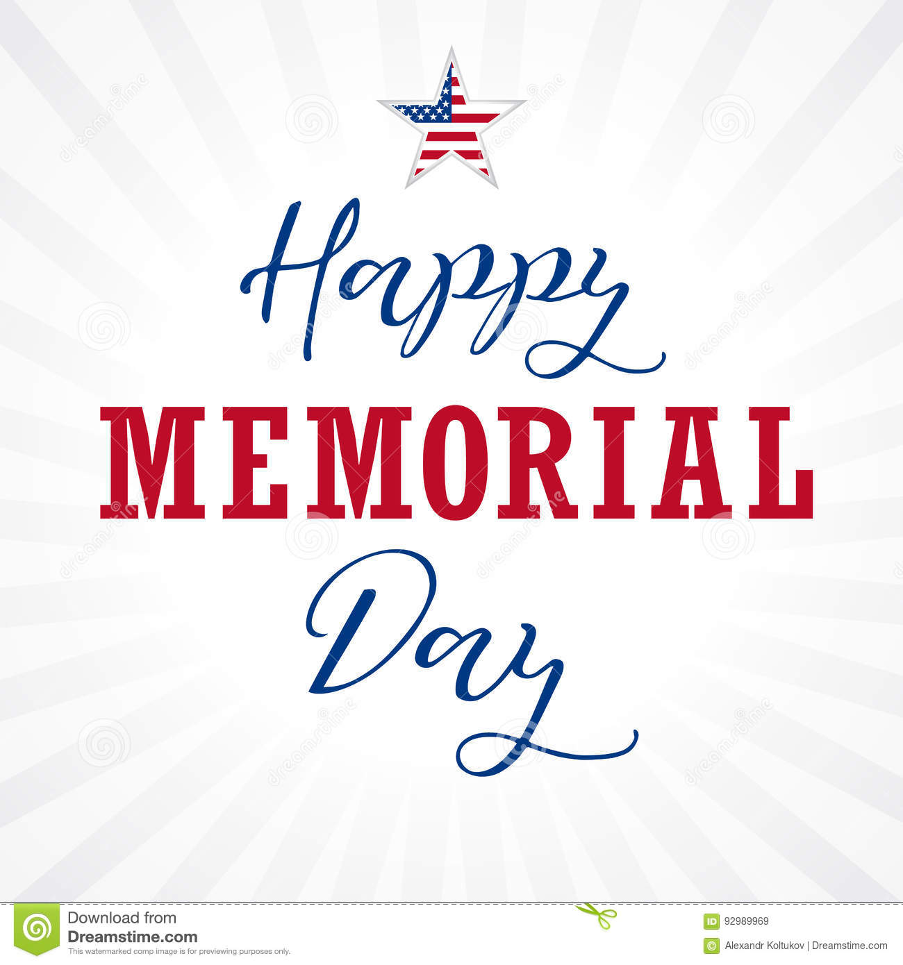 Happy Memorial Day Usa Lettering Star Light Stripes Stock