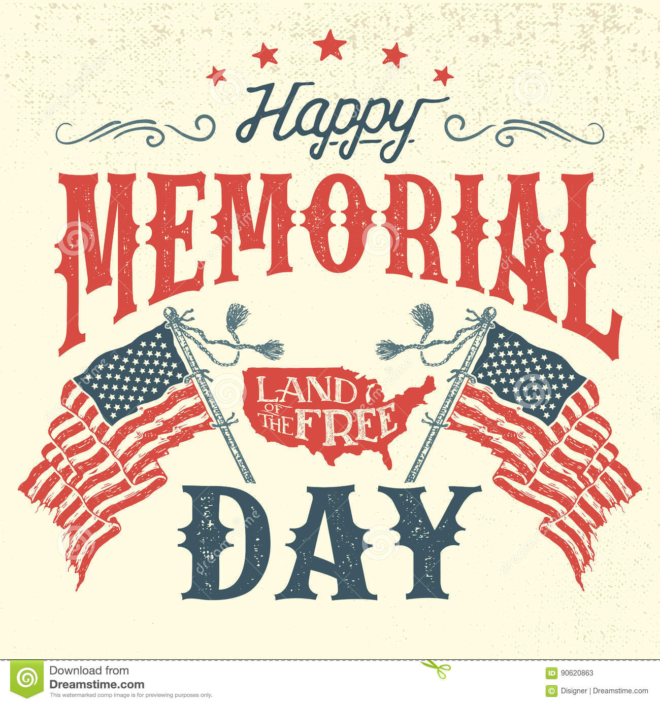 Happy Memorial Day Vintage Greeting Card Stock Vector