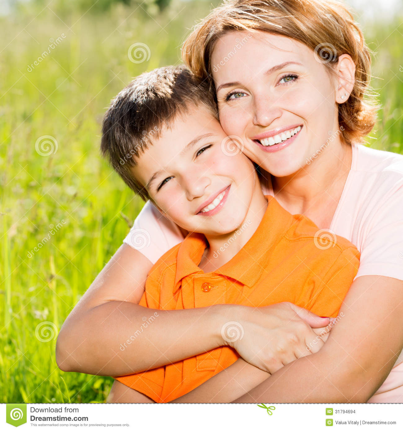 Happy Mother And Son Outdoor Portrait Stock Photo