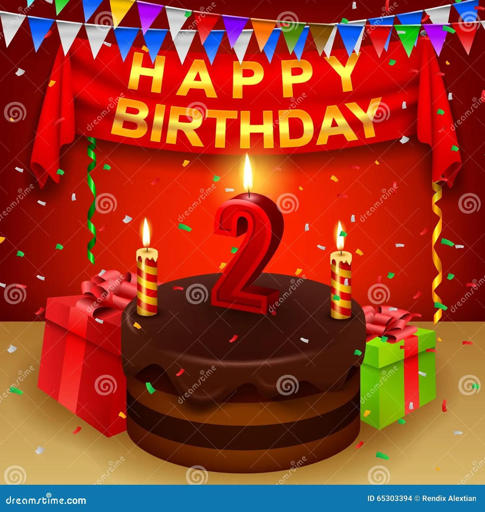 Happy 2nd Birthday With Chocolate Cream Cake And Triangular Flag Stock Vector Illustration Of Bake Cream 65303394