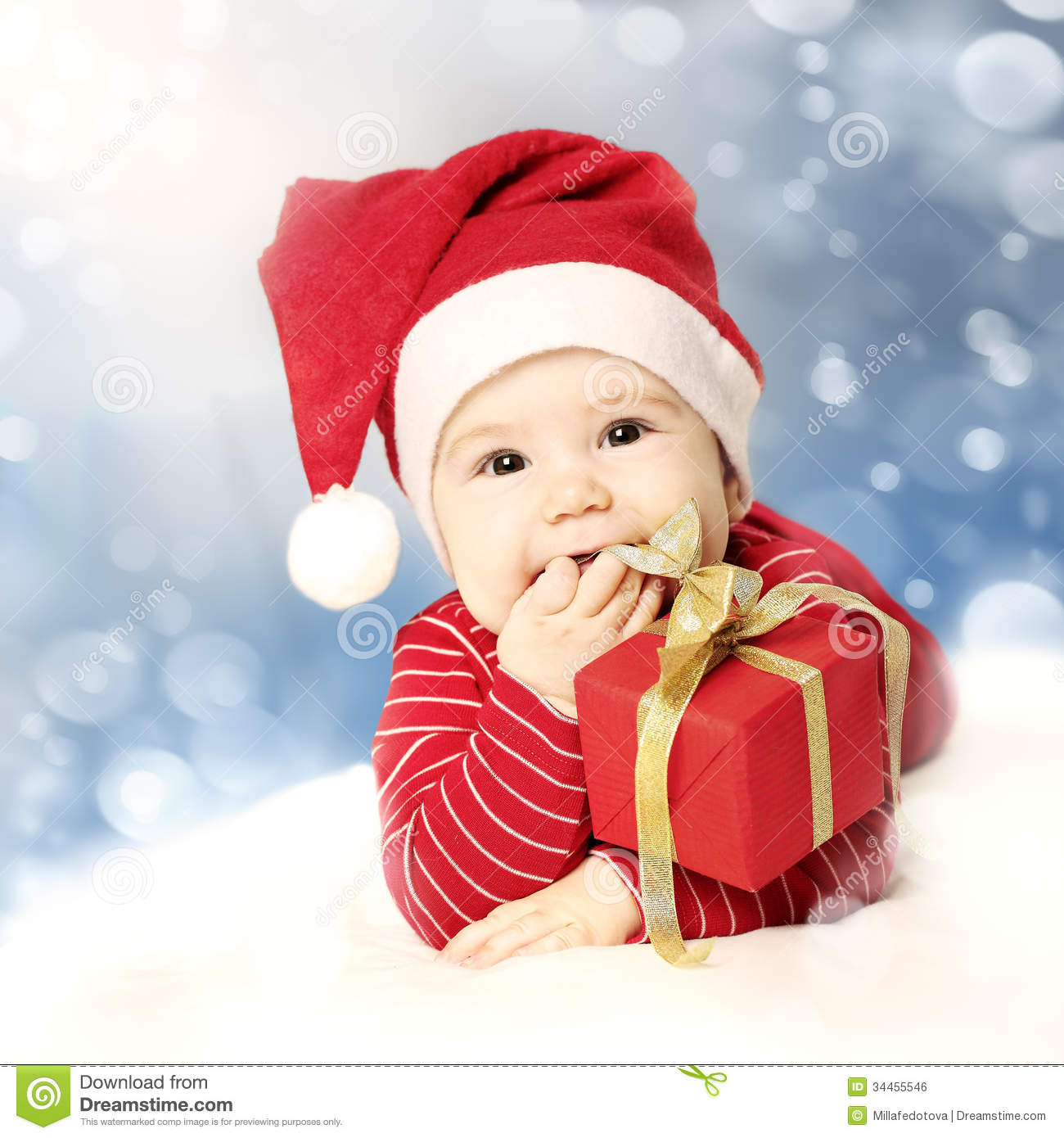 Happy New Year Baby With Red Gift On Snow Stock Photo   Image of     Happy New Year baby with red gift on snow