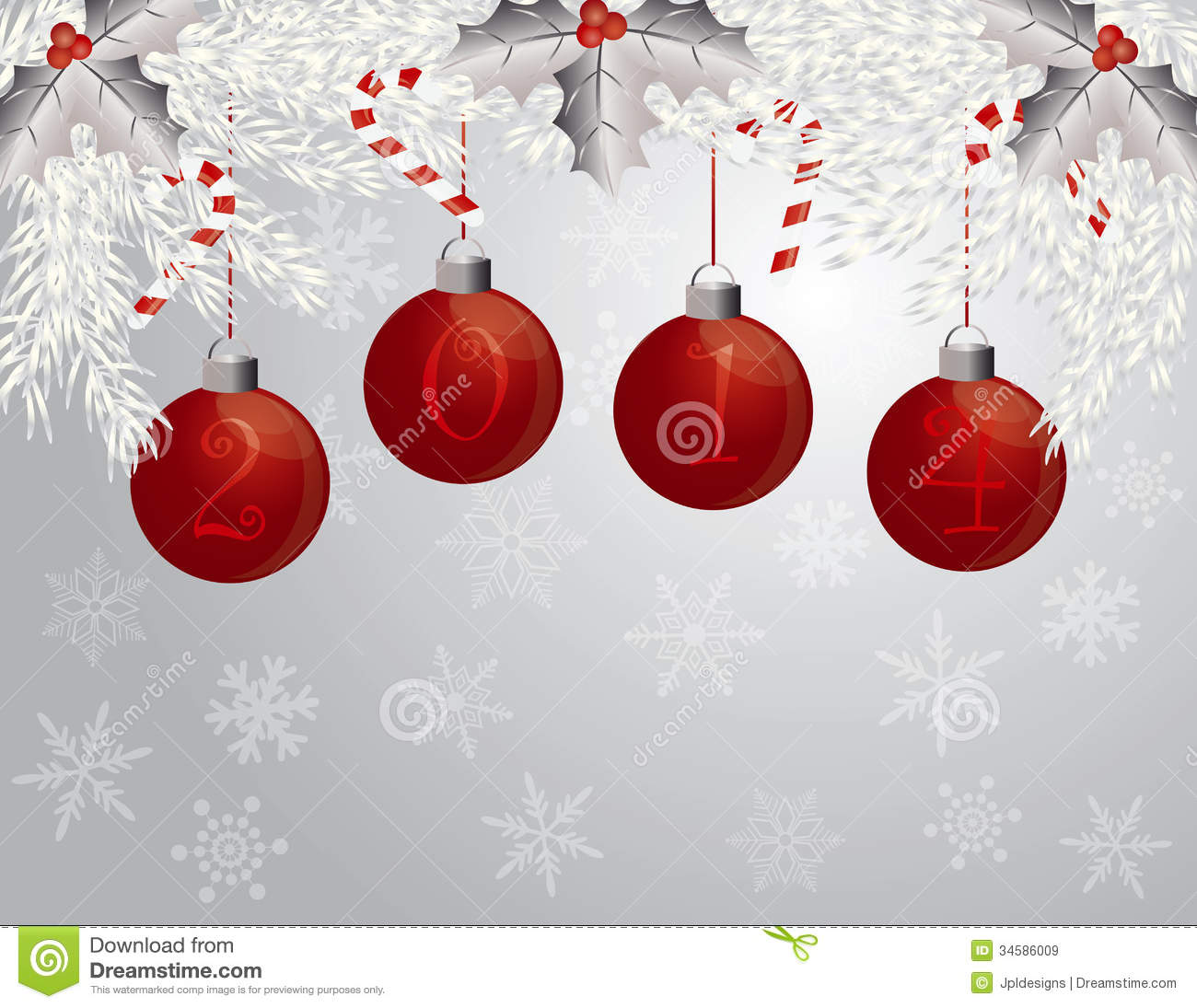 Happy New Year Garland With 2014 Ornaments Illustr Stock