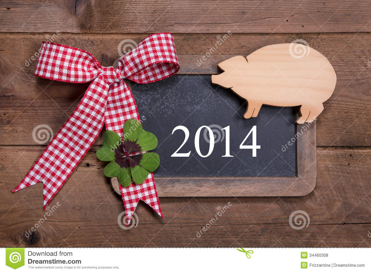 Happy New Year 2014 Greeting Card On A Wooden Background Royalty Free Stock Photos Image