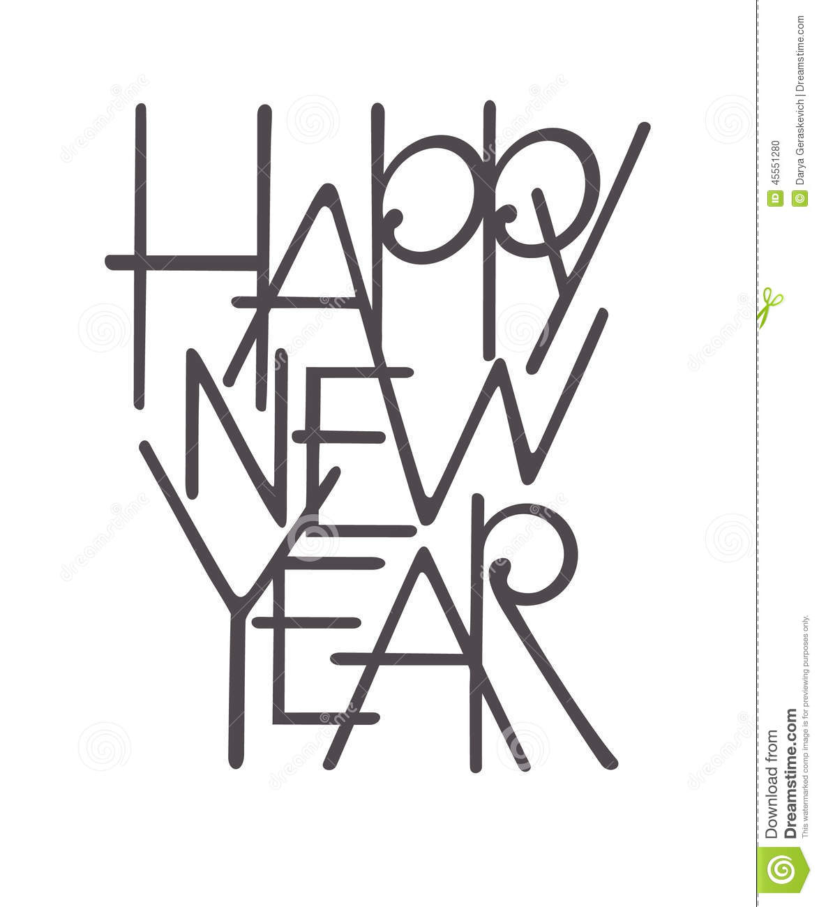 Happy New Year Lettering Stock Vector Illustration Of
