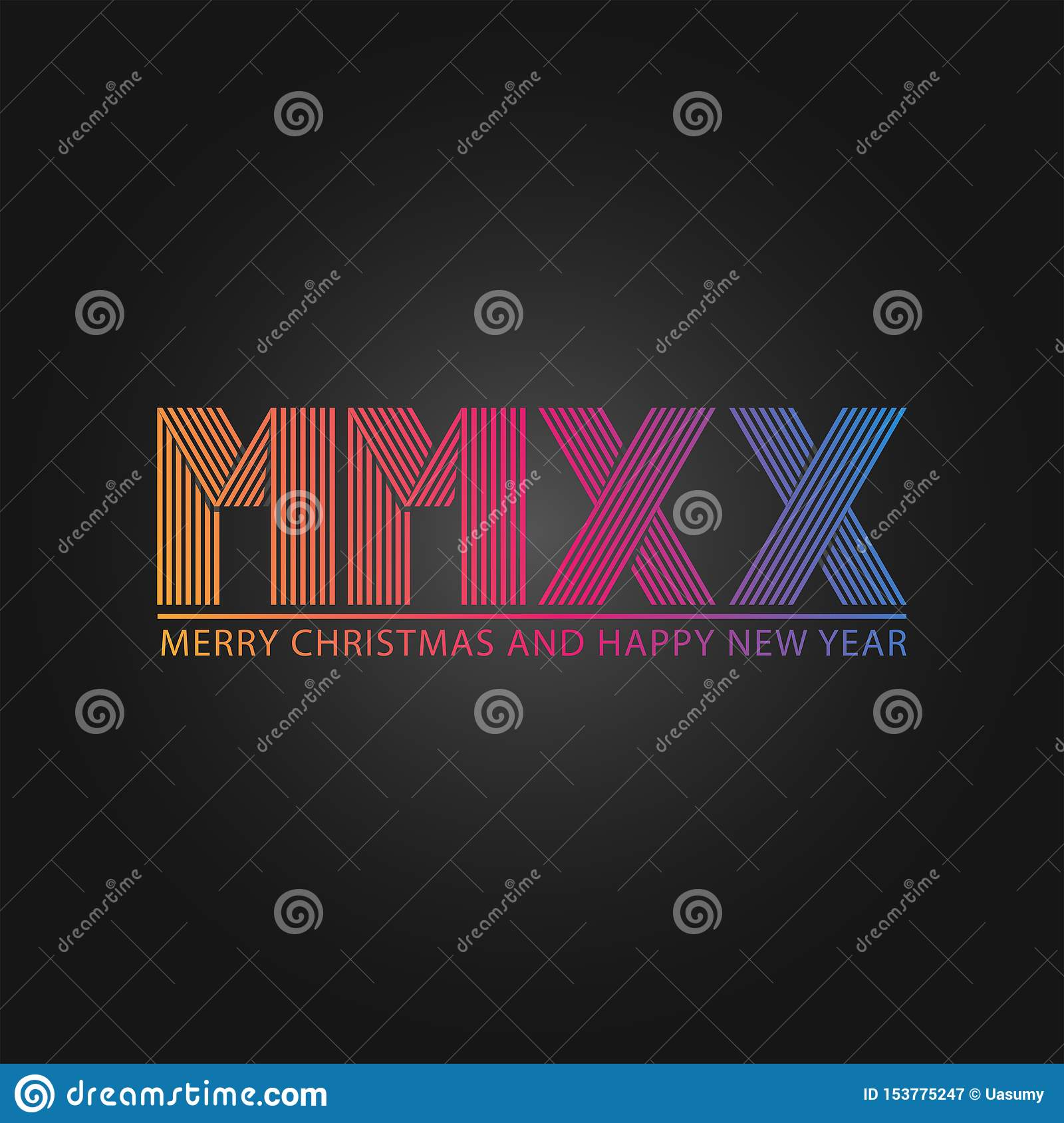 Happy New Year And Merry Christmas Slogan Number Logo