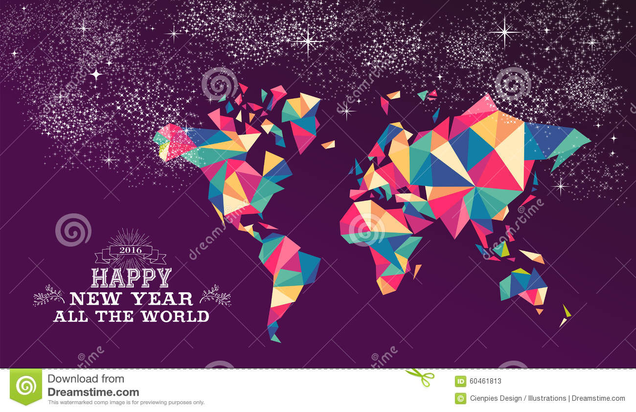 Happy New Year 2016 World Triangle Hipster Color Stock Vector     Download comp