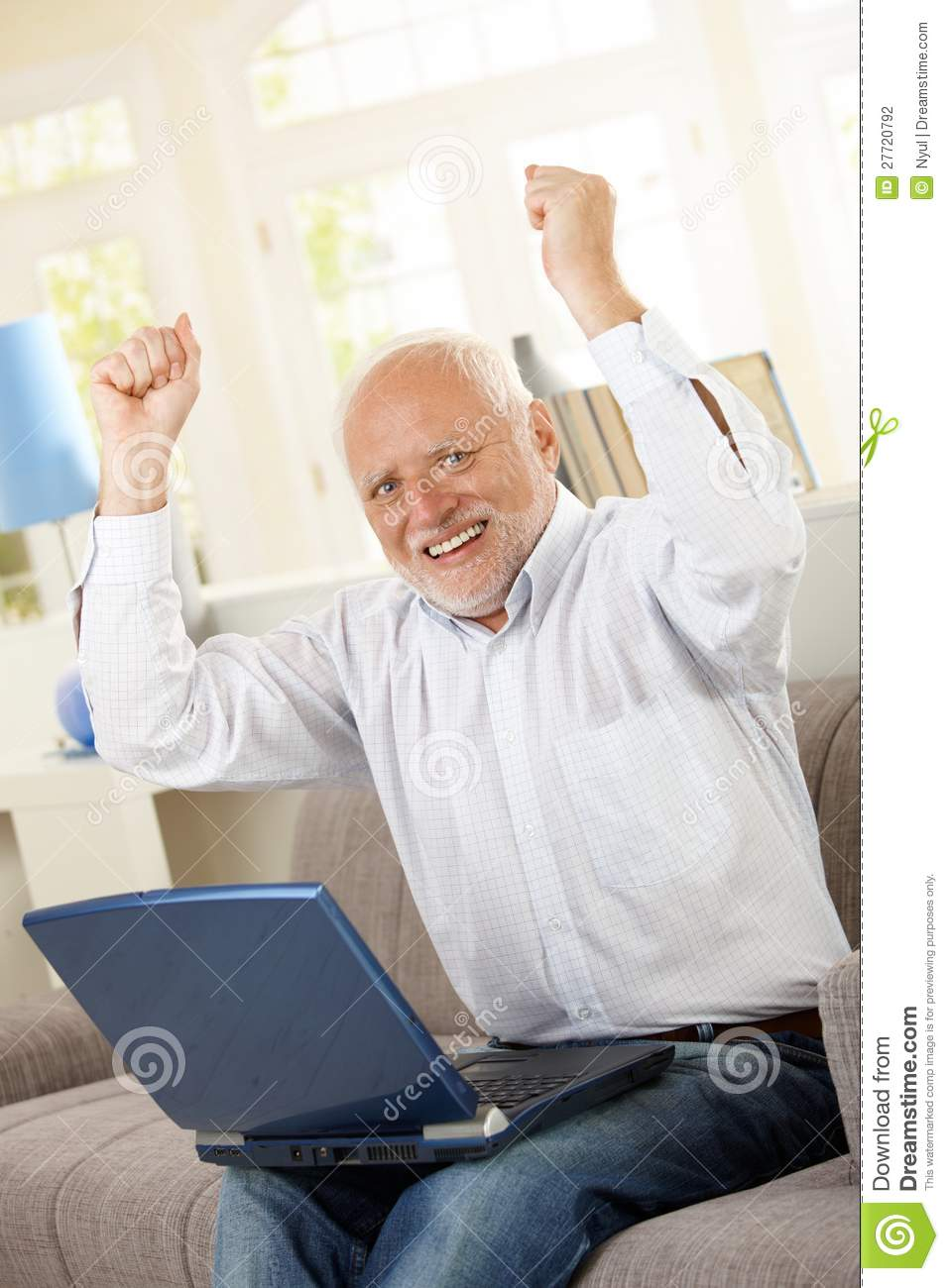 Happy Old Man Sitting On Sofa With Laptop Stock Photo Image Of