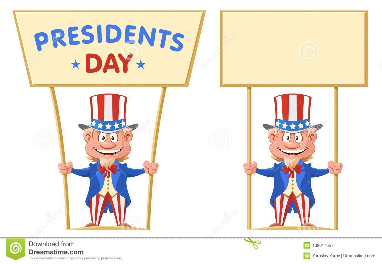 Happy Presidents Day Funny Cartoon Uncle Sam Holds Banner