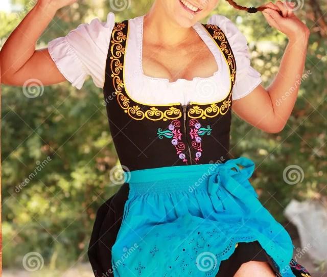 Happy Redhead Woman In Dirndl