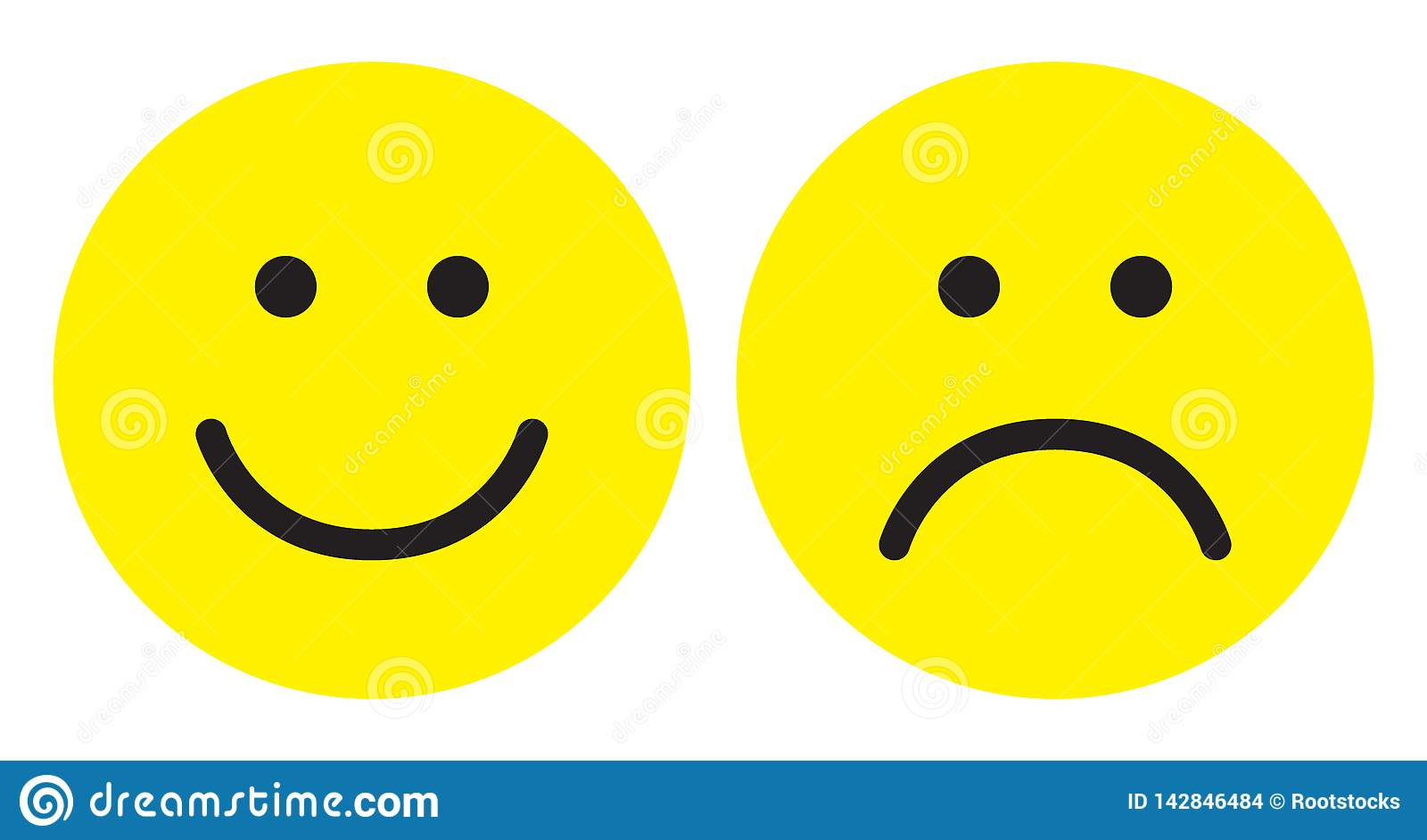 Happy And Sad Face Icons Stock Illustration Illustration