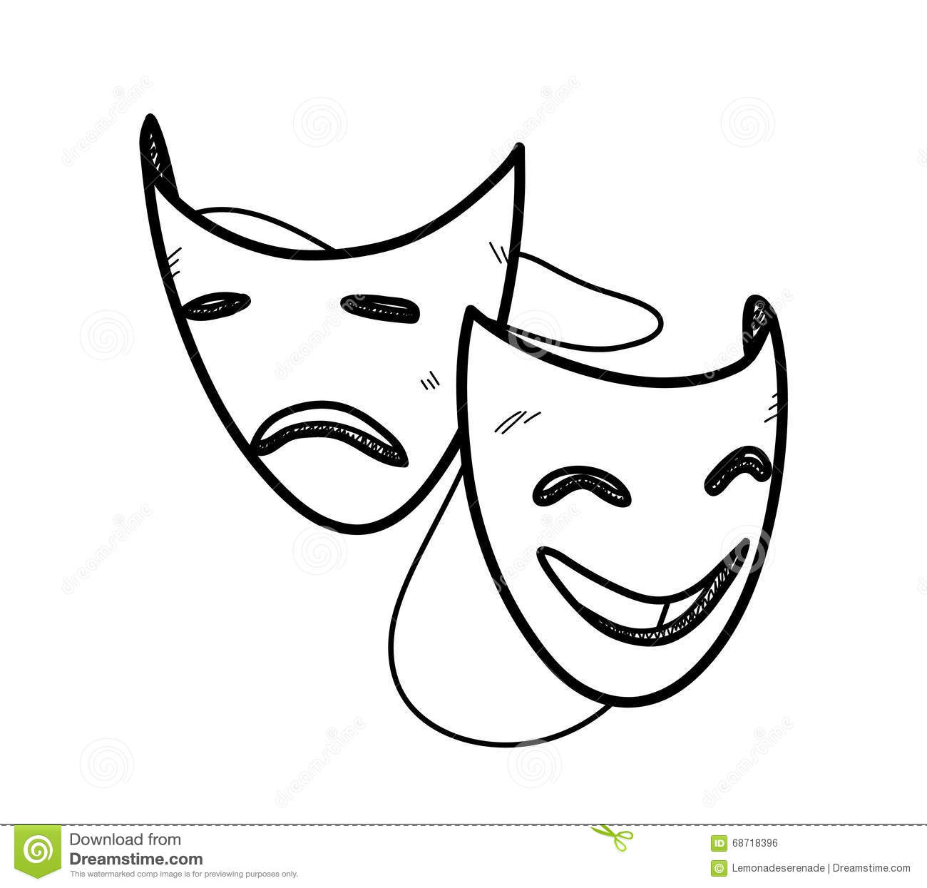 Drama Happy Sad Masks Cartoon Vector