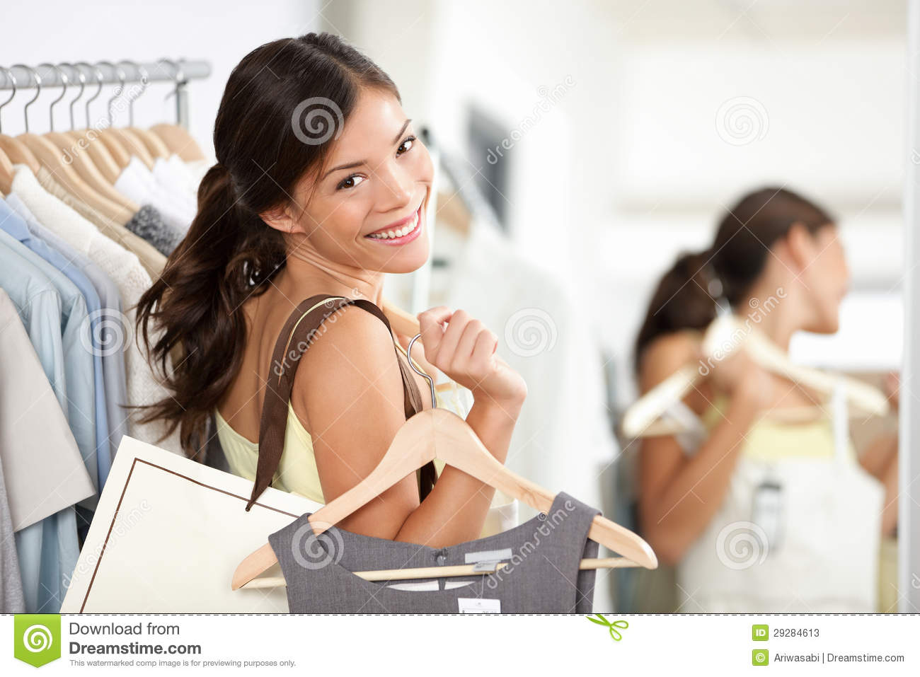 Happy Shopping Woman In Clothing Store Stock Image Image