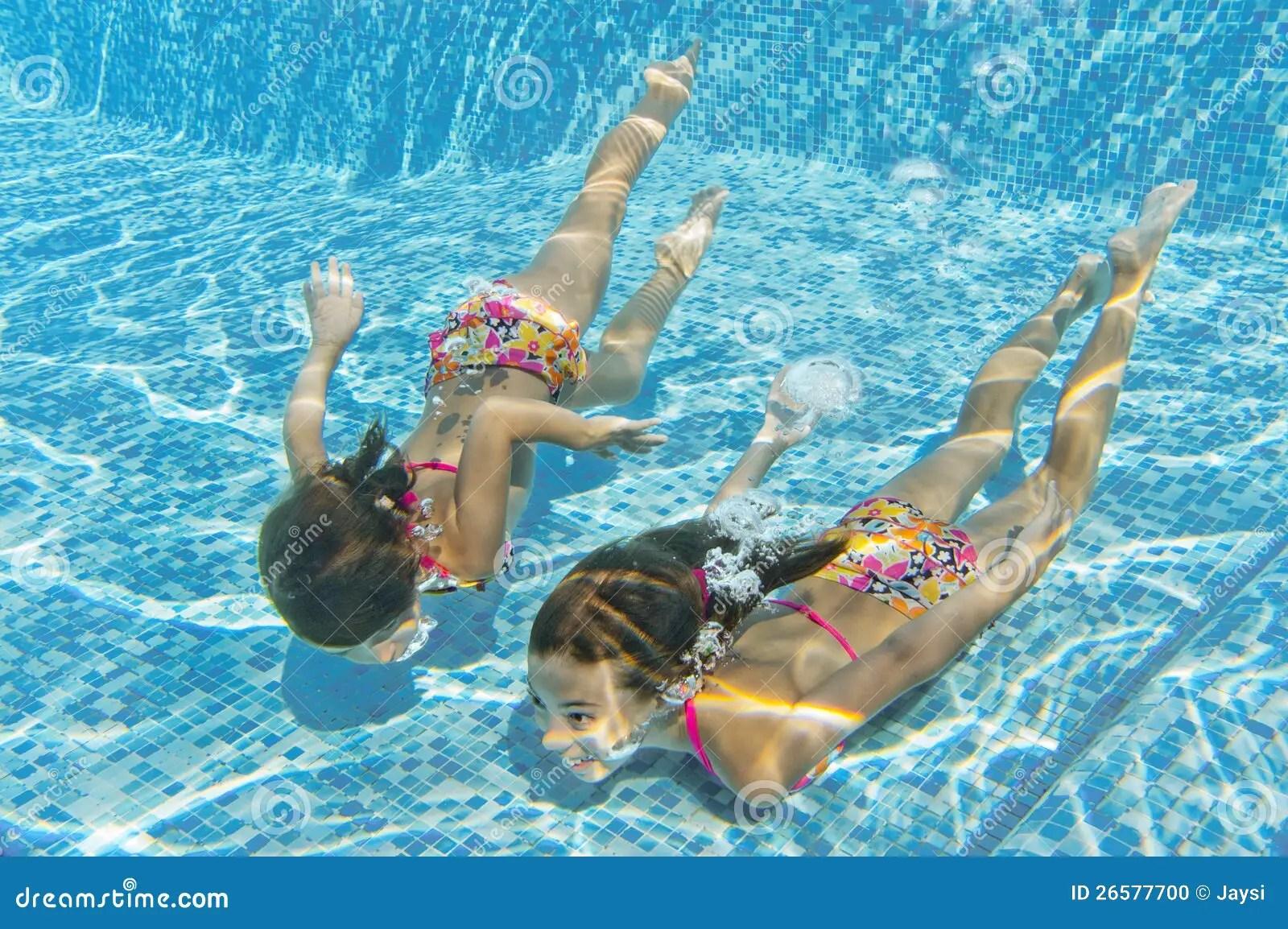 Happy Smiling Underwater Children In Swimming Pool Stock