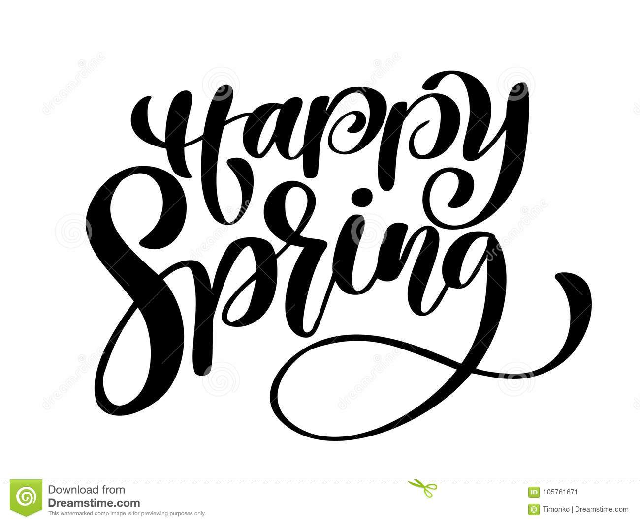 Happy Spring Hand Drawn Calligraphy And Brush Pen Stock