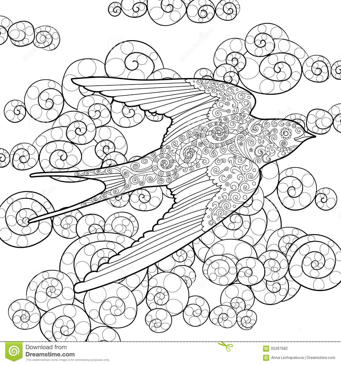 Drawn Bird Coloring Page