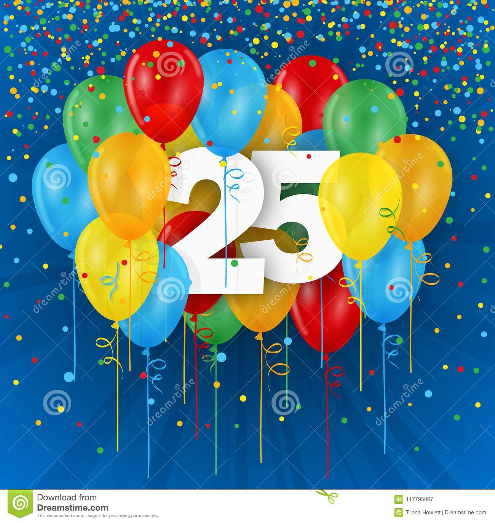 Happy 25th Birthday Anniversary Card With Balloons Stock Illustration Illustration Of Twentyfifth Balloons 117795067